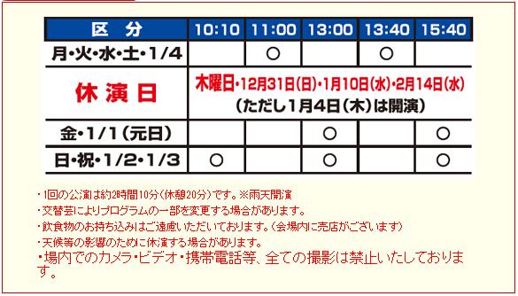 木下大サーカス公演時間(沖縄)